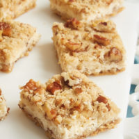 Pecan Cheesecake Bars are a delightful dessert that can be made quickly and easily. One of my favorite go-to recipes for when I need a simple dessert without a lot of fuss. - Bake or Break