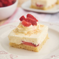 slice of Strawberry Shortcake Cheesecake Bars