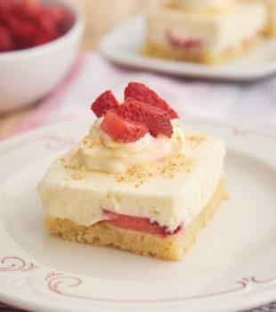 slice of Strawberry Shortcake Cheesecake Bars