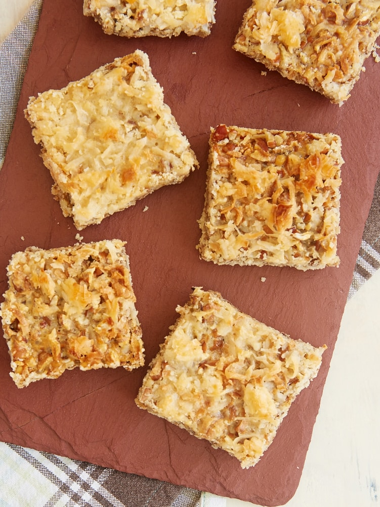 overhead view of Coconut Pecan Shortbread Squares on a cutting board