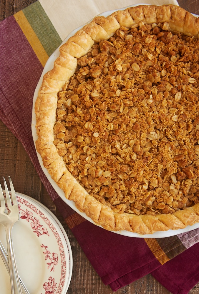 overhead view of an Apple Crumb Pie