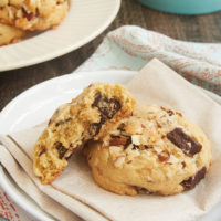 There is SO much amazing flavor in these soft, sweet, chewy, crunchy Coconut Almond Chocolate Chip Cookies! - Bake or Break