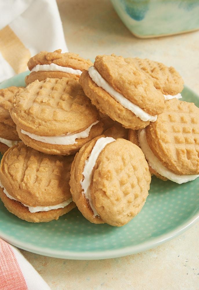 Peanut Butter Marshmallow Sandwich Cookies on a green plate