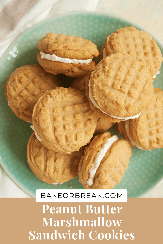 Peanut Butter Marshmallow Sandwich Cookies bakeorbreak.com