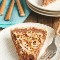 slice of Chocolate Mousse Pie with Toasted Coconut Crust