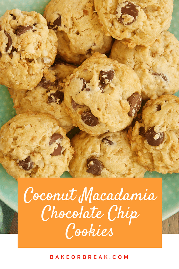 These Coconut Macadamia Chocolate Chip Cookies are bursting with so much amazing flavor. Sweet coconut, crunchy macadamias, and two kinds of chocolate make these soft, chewy cookies a big-time winner! - Bake or Break #chocolatechipcookies #cookies