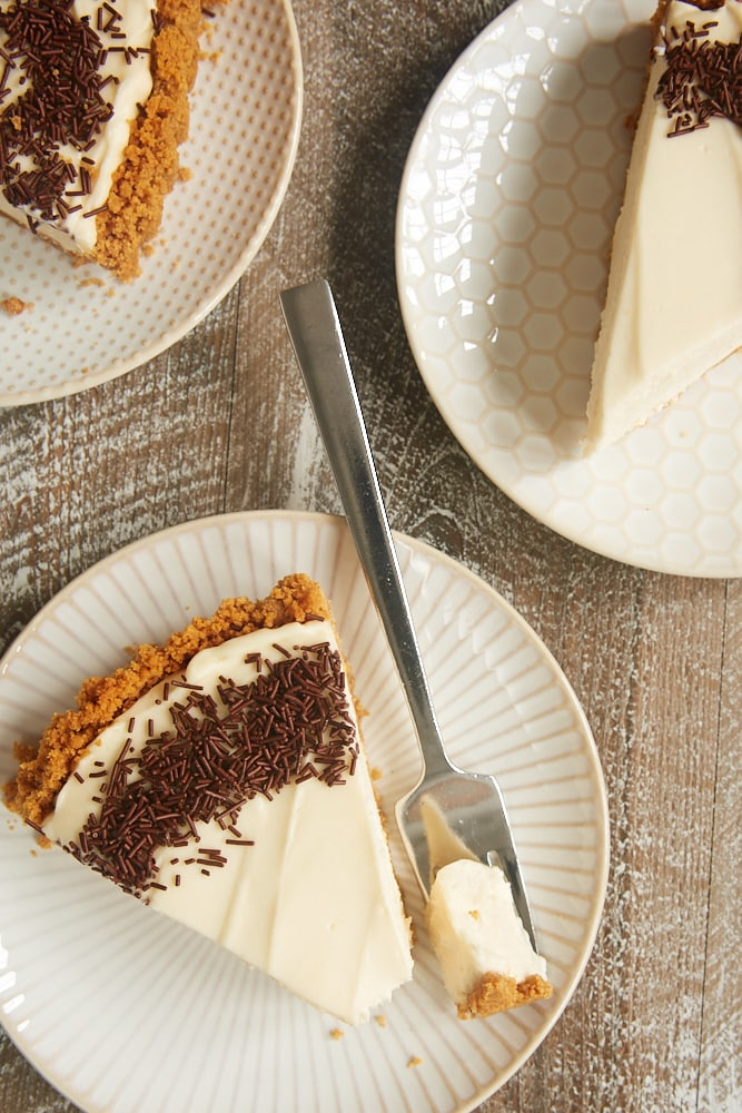 slices of No-Bake Irish Cream Cheesecake served on plates