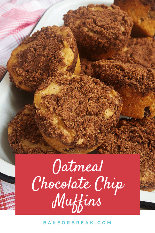 Oatmeal Chocolate Chip Muffins with Chocolate Streusel bakeorbreak.com