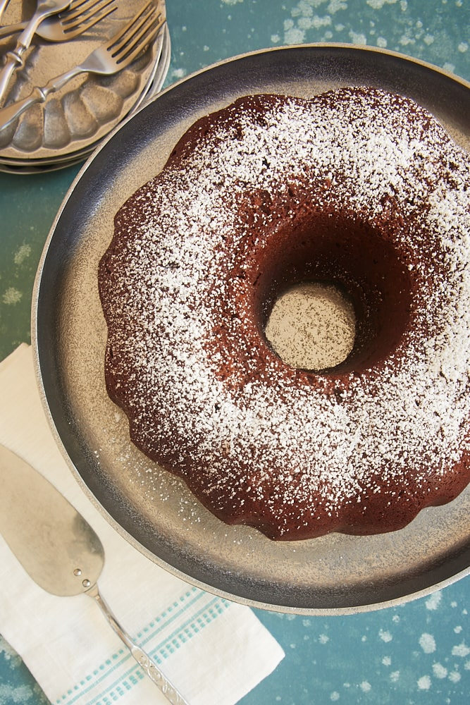 Buttermilk Mexican Chocolate Pound Cake dusted with confectioners' sugar