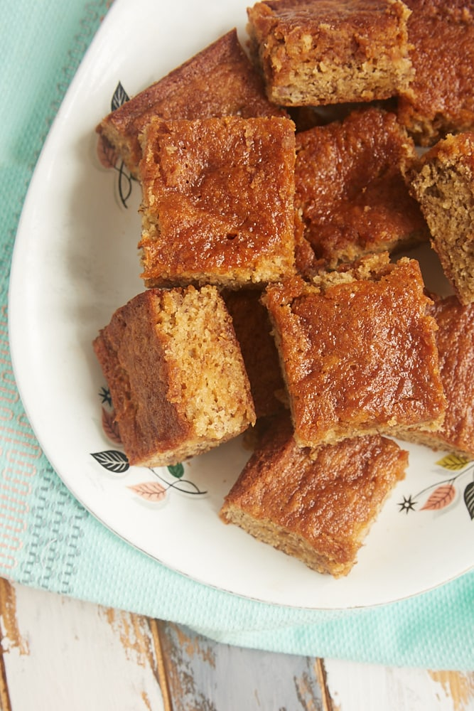 Dulce de Leche Banana Bars served on a platter