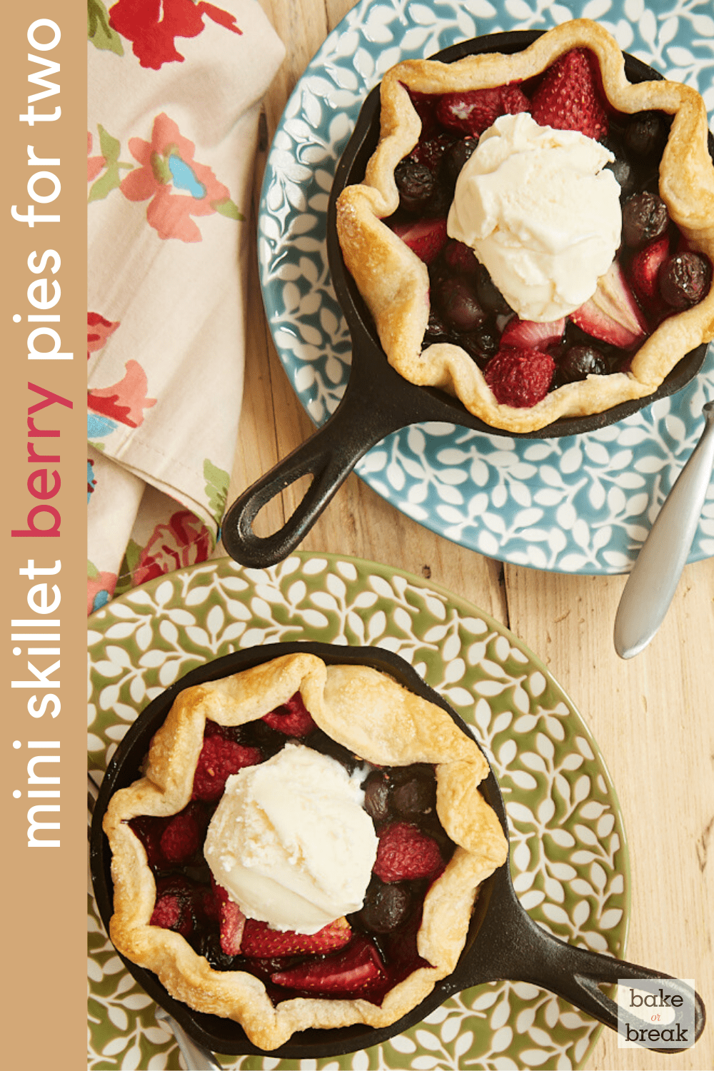Mini Skillet Mixed Berry Pies for Two | Bake or Break