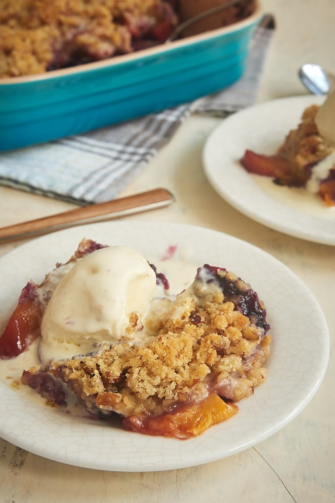 Blueberry Peach Crisp served with ice cream
