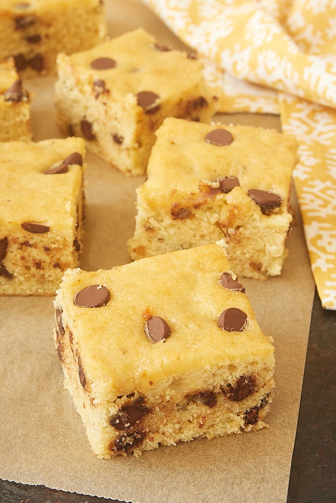 Chocolate Chip Banana Bars on parchment paper
