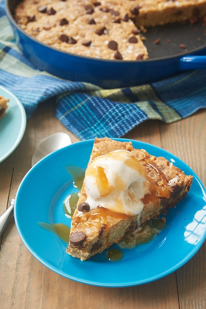 Brown Butter Skillet Blondie with ice cream and caramel sauce