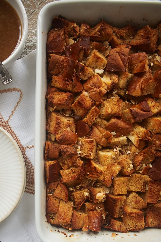 Chai Spice Bread Pudding with Vanilla Sauce