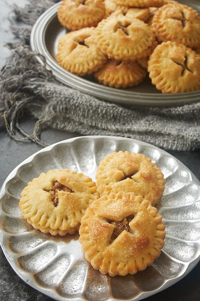 Pecan Hand Pies served on a pewter plate