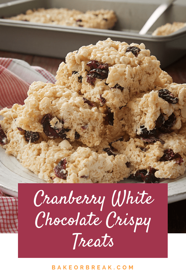 Cranberry White Chocolate Crispy Treats bakeorbreak.com