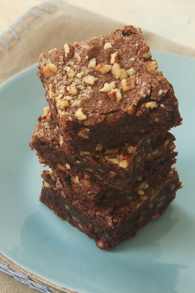stack of Double Chocolate Cinnamon Pecan Brownies