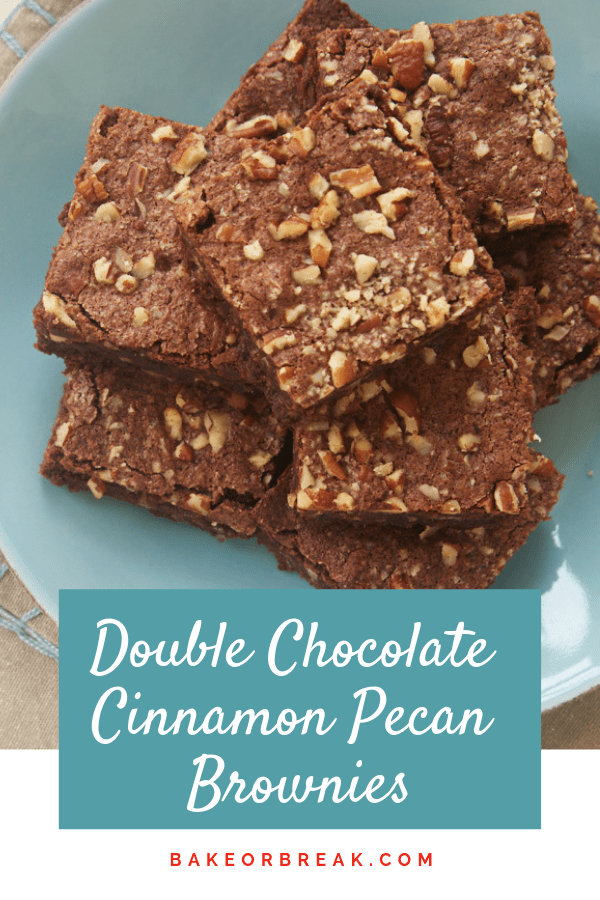 Double Chocolate Cinnamon Pecan Brownies bakeorbreak.com