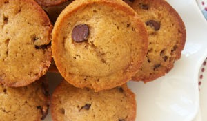 a plate piled high with Chocolate Chip Muffins
