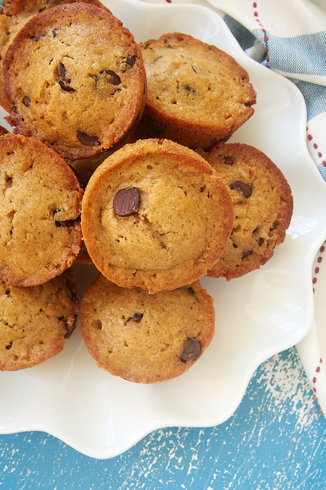 a plate piled high with homemade Chocolate Chip Muffins