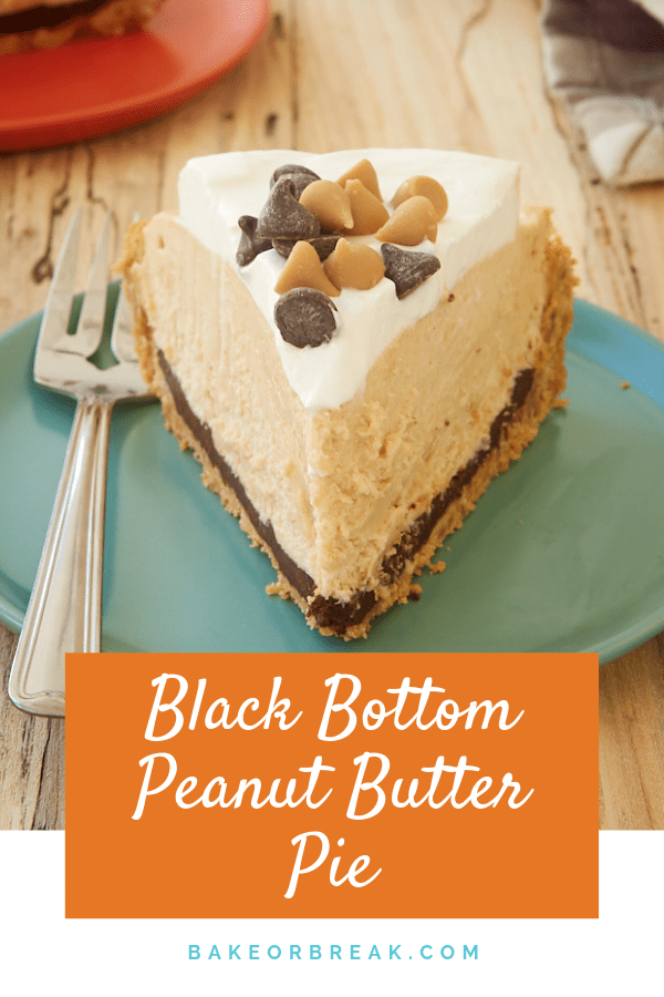 Black Bottom Peanut Butter Pie is filled with chocolate ganache, a mile-high no-bake peanut butter filling, and sweetened whipped cream. This is one delicious pie! - Bake or Break #pie #peanutbutter