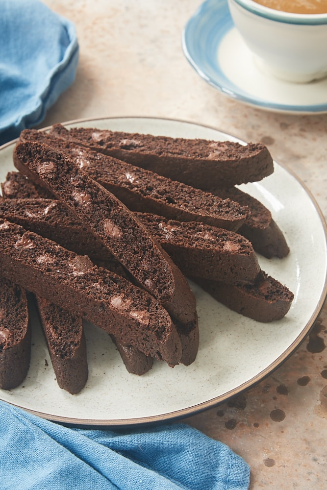 plate of Double Chocolate Biscotti