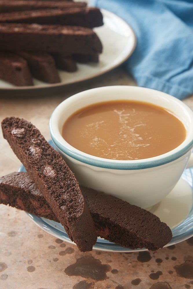 Double Chocolate Biscotti and a cup of coffee