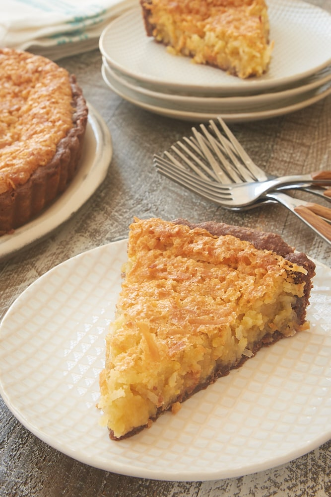 slice of Coconut Chess Pie with Chocolate Crust