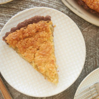 slices of Coconut Chess Pie with Chocolate Crust