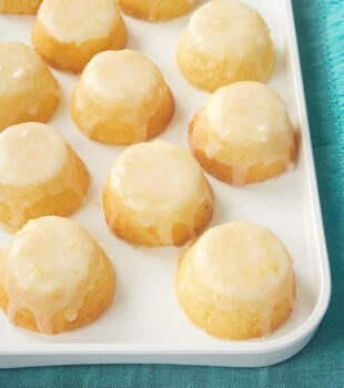 a white tray of Mini Lemon Pound Cakes