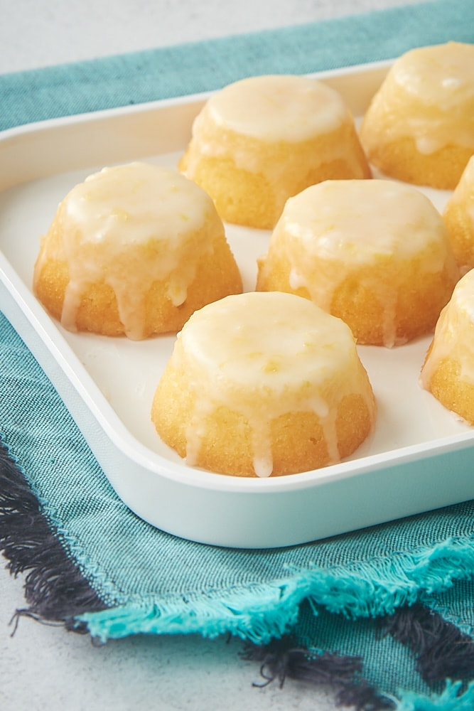 Mini Lemon Pound Cakes topped with a lemon glaze