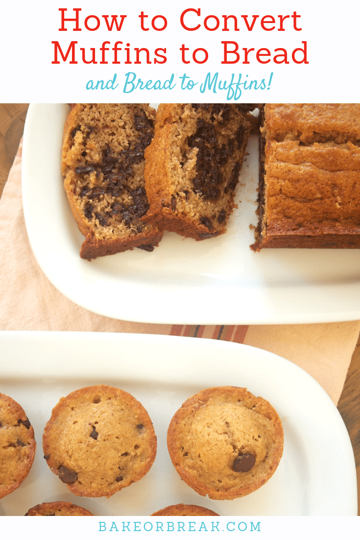 Chocolate Chip Muffins and Chocolate Chip Bread made using tips for converting muffins to bread
