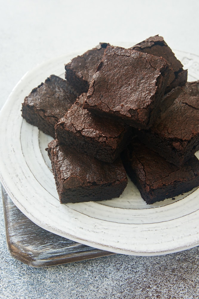plate of Dark Cocoa Powder Brownies
