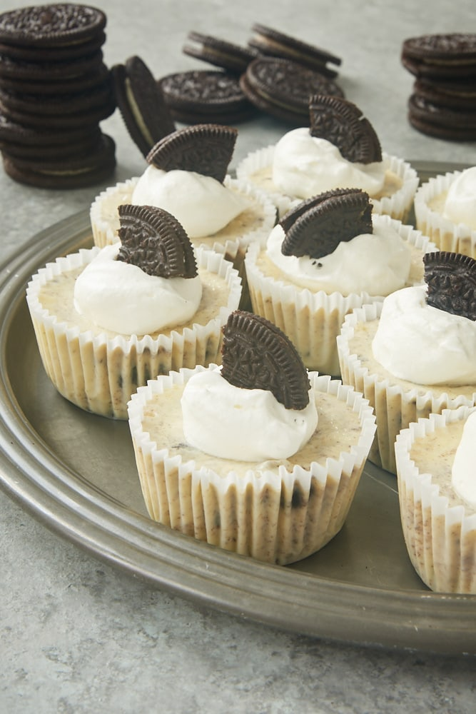 Cookies and Cream Cheesecakes served on a pewter tray