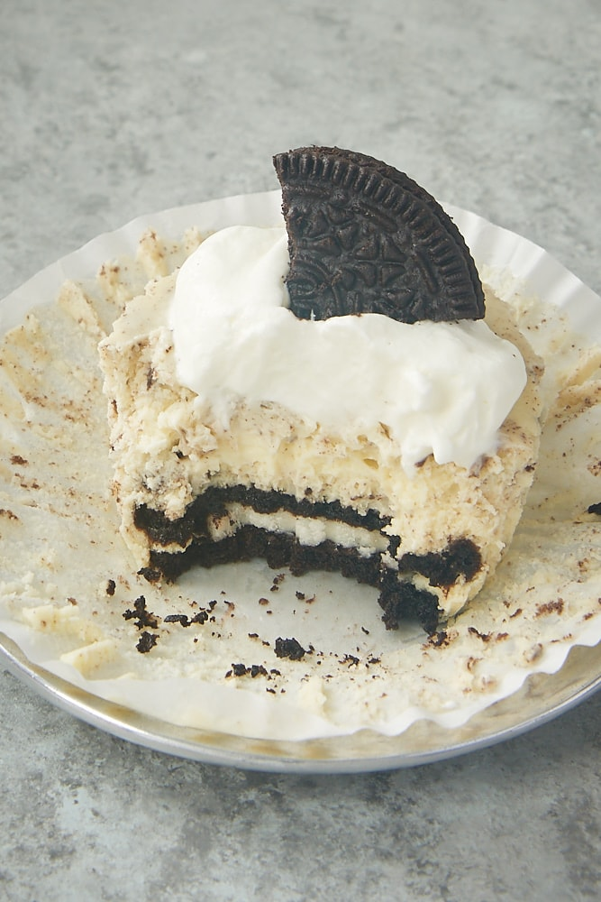 Cookies and Cream Cheesecake with one big bite missing