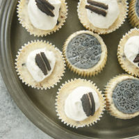 Cookies and Cream Cheesecakes on a pewter tray