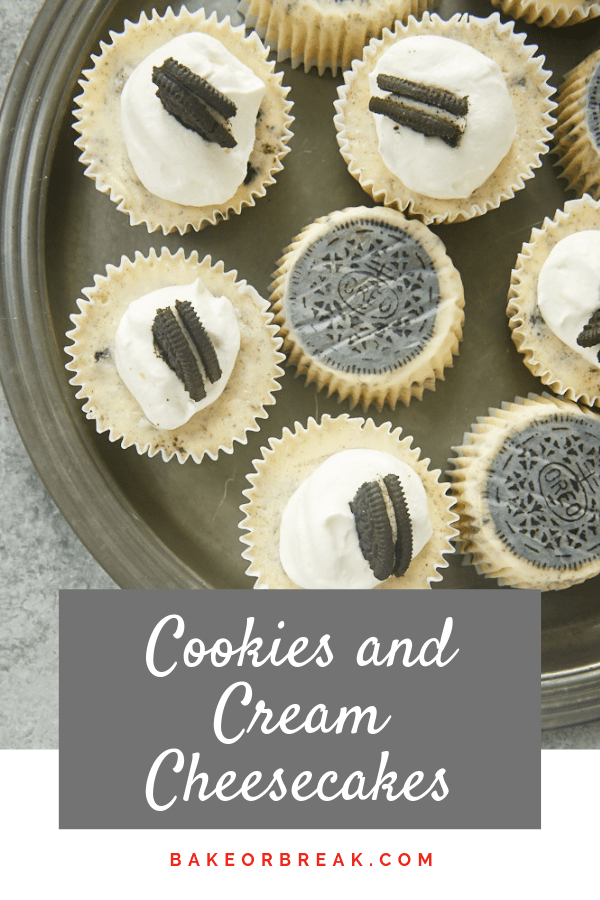 Cookies and Cream Cheesecakes are a must-bake for Oreo fans. With an entire cookie serving as the crust and even more cookies in the cheesecake, there's no shortage of cookies and cream flavor here! - Bake or Break #cheesecake #cookiesandcream #minicheesecakes