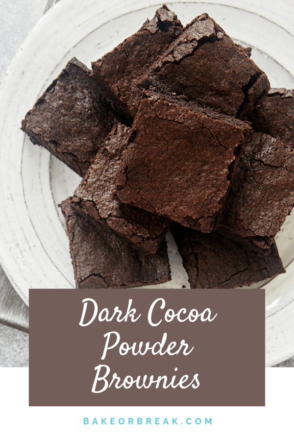 Dark Cocoa Powder Brownies are a rich, fudgy brownie experience. These are sure to be a hit for dark chocolate fans! - Bake or Break #brownies #chocolate