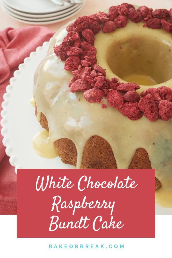 Celebrate sweet raspberries with this White Chocolate Raspberry Bundt Cake. This soft, moist cake is topped with a super simple white chocolate ganache for a wonderful dessert for spring and summer! - Bake or Break #cake #bundtcake #raspberries #whitechocolate