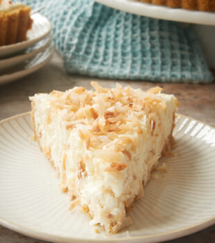 slice of No-Bake Coconut Cheesecake