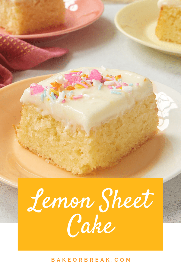 Lemon Sheet Cake is THE cake for lemon lovers. With plenty of lemon in both the cake and frosting, this cake is sure to please any lemon lover! - Bake or Break #cake #lemon