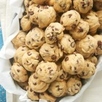 Mini Chocolate Chip Cookies in a metal bowl