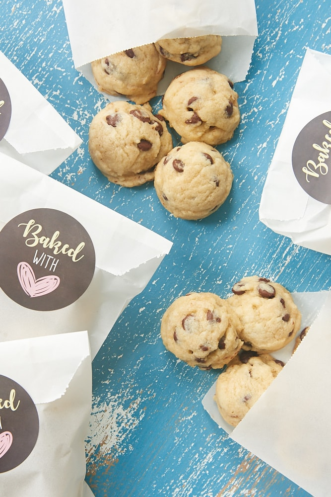 Mini Chocolate Chip Cookies packaged in small favor bags