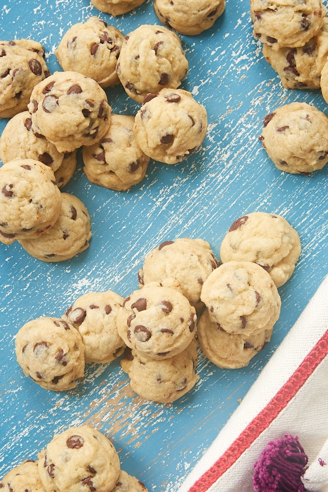 Mini Chocolate Chip Cookies on a blue background