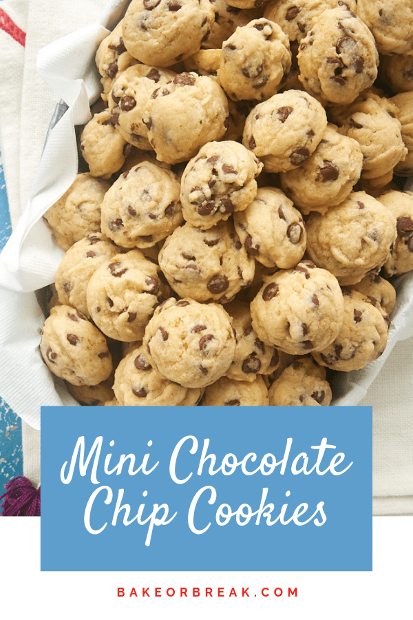Mini Chocolate Chip Cookies are a fun, bite-size twist on classic chocolate chip cookies. Make a big batch of these little guys for parties, showers, gifts, or just because! - Bake or Break #cookies #chocolatechip #chocolatechipcookies