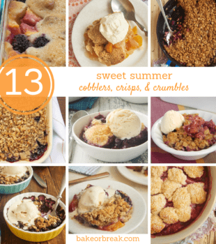 collection of cobblers, crisps, and crumbles made with summer fruits