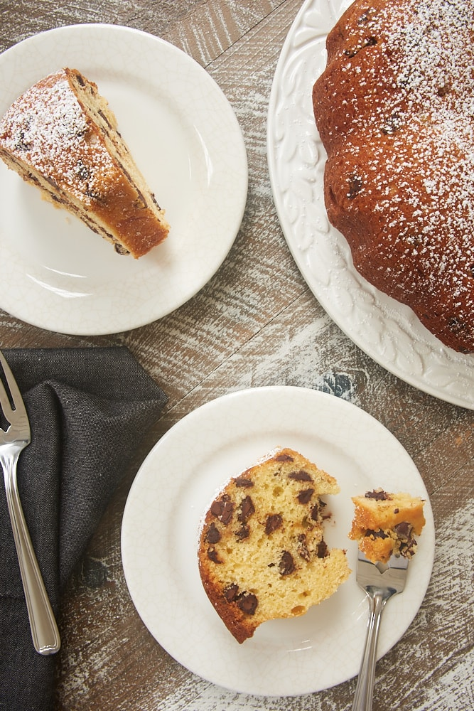 slices of Chocolate Chip Muffin Cake