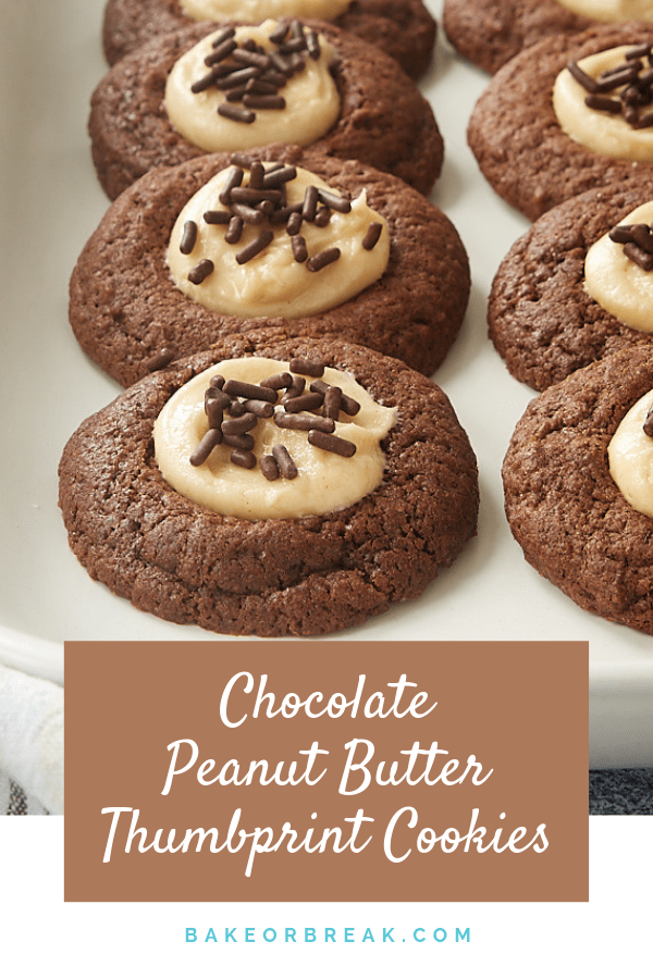 Chocolate Peanut Butter Thumbprint Cookies are soft, sweet cookies that celebrate a classic flavor pairing. If you love chocolate and peanut butter, don't miss out on these! - Bake or Break #cookies #thumbprintcookies #chocolate #peanutbutter