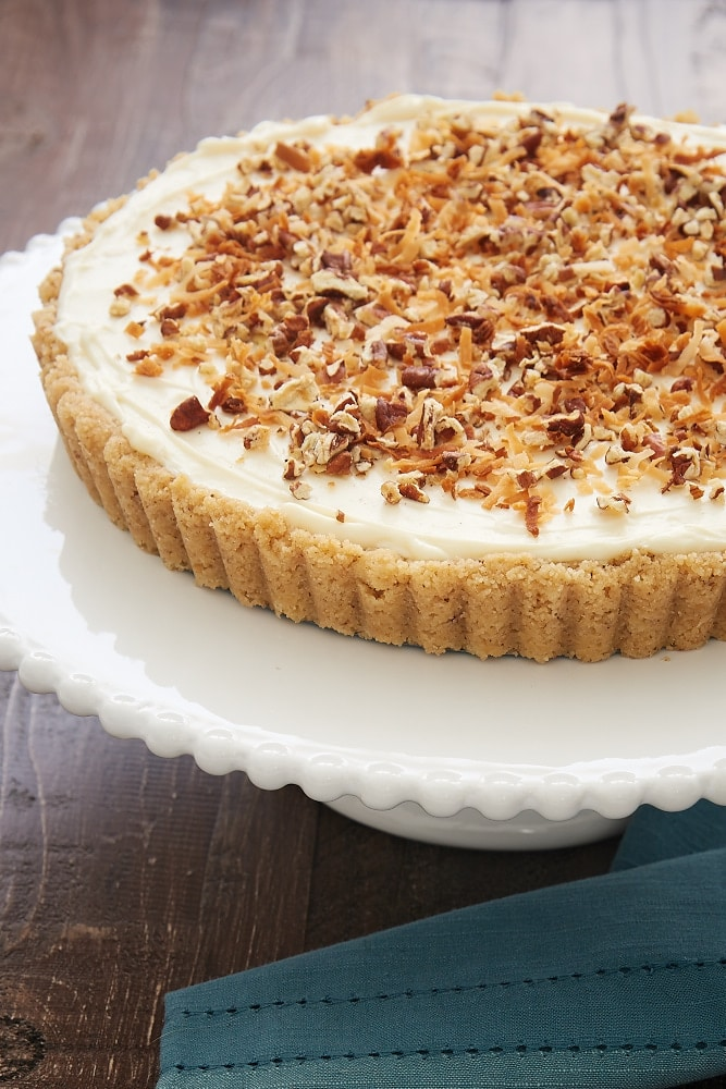 Italian Cream Tart topped with toasted coconut